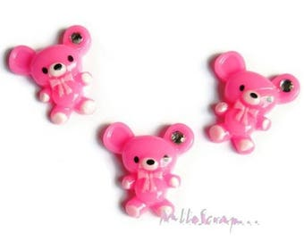 Set of 3 small dark pink mouse resin embellishment scrapbooking.*