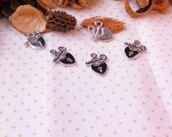 2 heart charms with lock and key, silver pendants