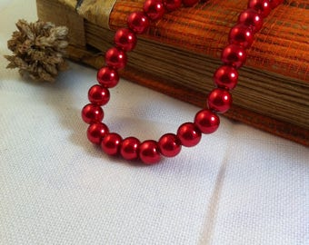 15 glass beads, dark red Pearl 8 mm round