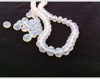 faceted Moonstone 10 Opal Crystal beads size 6 X 8 mm