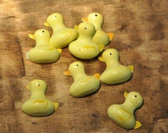 Wooden - yellow ducks - set of 10 subjects decoration