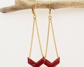Burgundy Red chevron pendant - enameled jewelry earrings