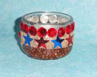 glass candle red and blue stars, table decoration, centerpiece