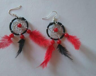 """Earrings """"DREAMCATCHER"""" black and Red"""