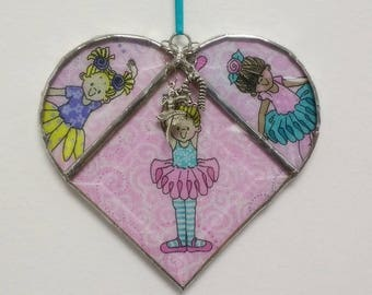 Large Stained Glass Heart Ballerina ~ Two-Sided ~ Large 5.5  Inches with Heart and Ballerina Charms