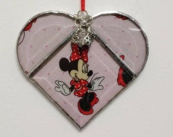 Stained Glass, Heart, Minnie Mouse, Disney, Suncatcher, Castle, Sun Catcher, Cartoon, Home Decor, Gift for Her, Girls,