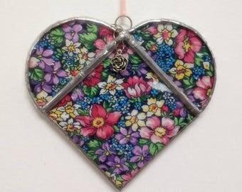 """Stained Glass Heart """"Flower Garden"""", Beveled Heart, Flower Heart, Gift for Her, Home Decor, Housewarming Gift, Sun Catcher"""