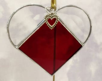 Stained Glass, JANUARY Birthstone, Birthstone Heart, Garnet, Deep Red, Stained Glass Suncatcher, Handmade in USA, Gift for Her