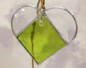 Stained Glass, AUGUST Birthstone, Birthstone Heart, Peridot, Apple Green, Stained Glass Suncatcher, Handmade in USA, Gift for Her