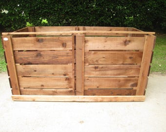 Compost Bin - Double Slatted Sturdy Wooden Twin Composting Box/Removable Front Boards/Optional Lids and Aerating-Bases/Compost Maker