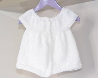 White vest cardigan 6-12 months ceremony, baptism, communion
