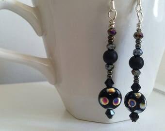 Black dangle beaded earrings