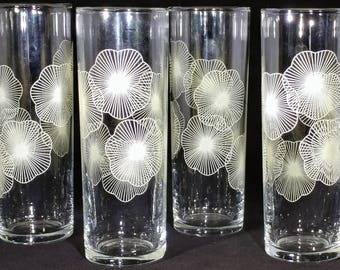 Four Collins Glasses with sea anemone design