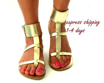 "Gold Leather sandals, ""DIMITRA""  Greek sandals,  bride  handmade sandals, express shipping 1-4 days worldwide"