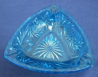 Hazel Atlas Blue Pinwheel Triangle Cut Glass Ashtray