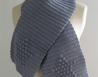 Gray crochet star pattern scarf