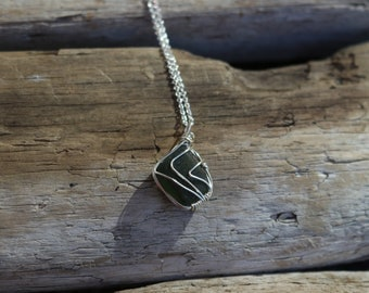 Genuine Forest Green Seaglass Necklace (Hand wired)