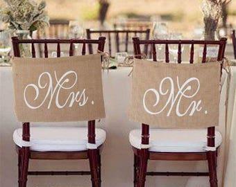 1Set Burlap Mr & Mrs Chair Signs Banner Flags Khaki Wedding Decoration Mariage Event Festive Wedding Day Photo Props Engagement Party Decor