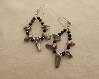 onyx and pearl loop dangle earrings with hand-crafted sterling silver earwires.