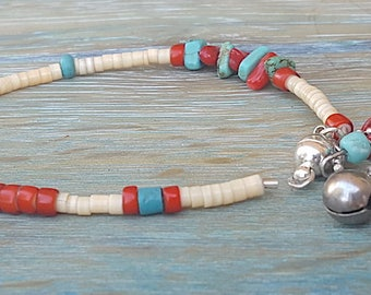 Unique, Handcrafted , Genuine Turquoise, Red Coral and Heishi Beaded Bracelet