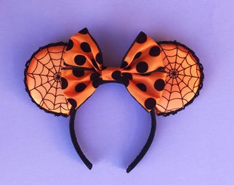 Nightmare Before Christmas Mickey Ears Minnie Disney Inspired Orange and Black SpiderWeb