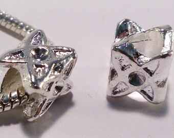2 European beads, alloy, silver color (18G)