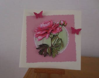 card for any occasion with pink rose and Rosebud in 3D