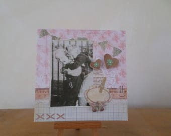 card in 3D with children and hearts