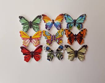 Set of 10 colorful Butterfly wooden buttons