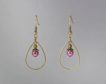 Bronze drop earrings creations elyfly purple miracle beads