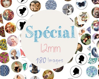 """Board of 180 cabochons images / digital """"Special 12mm, cat, dog, dreamland, alice in the land of dreams, liberty"""