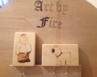 Wall hung key or/and dog leader holder with Family Guy Peter Griffin and Brian Griffin Pyrography