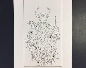 15-Le Diable, Illustration originale à l'encre noire