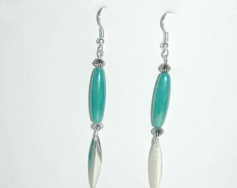 Turquoise beads and Silver earrings