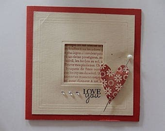 """Card Valentine's day """"Love you"""" - red and ecru"""