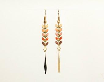 Earrings dangling chain metal enameled in summer colours