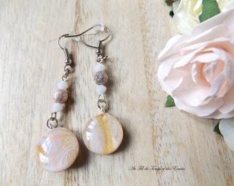 Drop Earrings Pink powder round pearl