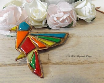 Bird of Paradise multicolored origami brooch