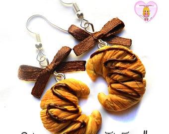 Handmade miniature Cornetto - chocolate croissants - earrings