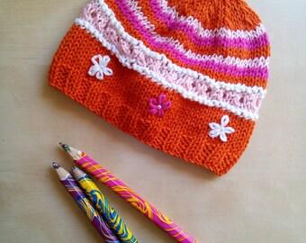 cotton Beanie / wool handmade for little girl
