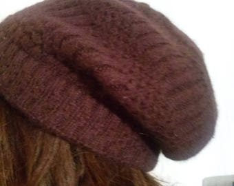 Hat knit in angora and acrylic Brown