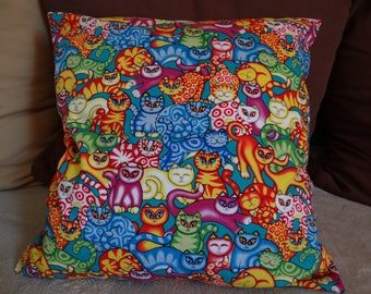 Cat pillow cover orange embroidered
