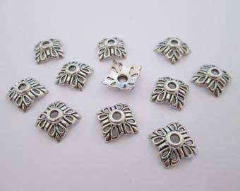 12 coupelles calottes 12 mm en métal argenté