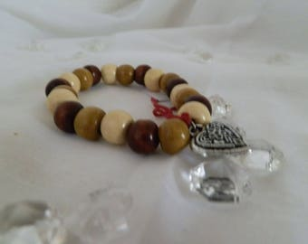 wood beads and heart charm bracelet