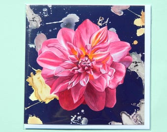 Pink Dahlia Greetings Card