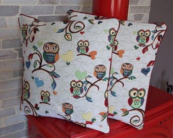 Set of two pillow cases / covers for pillow 40 x 40 cm owls and owls