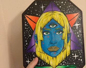 3-Eyed Space Girl (wood painting)