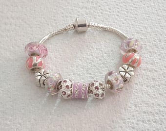 murano PINK SANDS/pandora/silver/rose/jewelry/Gift/Crystal/glass/enamel/clover/heart/unique/charm European/woman/chic style pearl bracelet