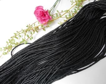 Black leather cord - sold by the yard