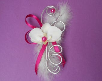 For the bride brooch - back train - ivory silver and fuchsia
